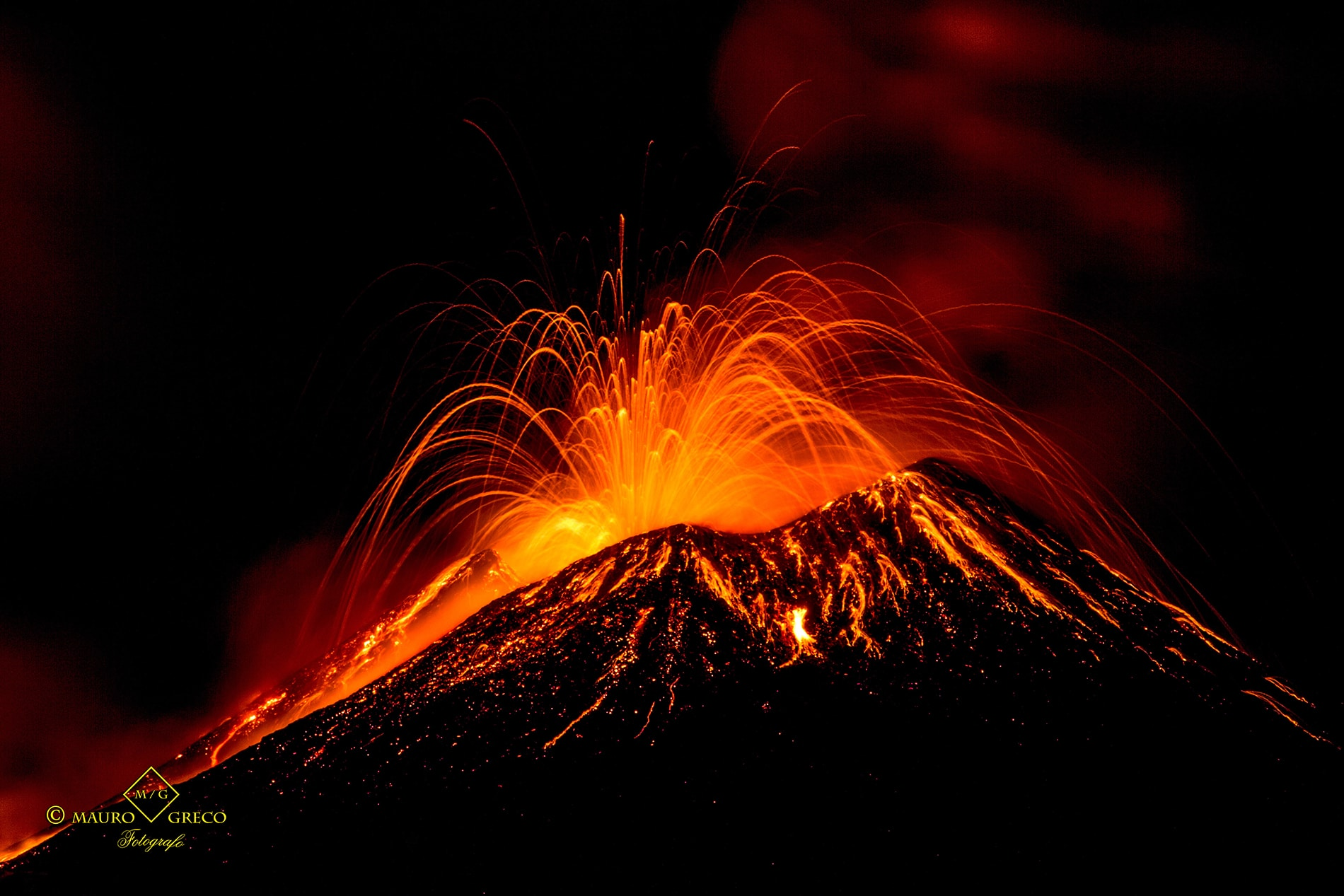 "Eruption of the volcano ""Etna"" in Sicily, Italy"